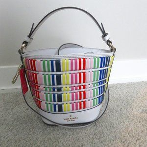 NWT Kate Spade Small Bucket Bag Pippa Woven Multi